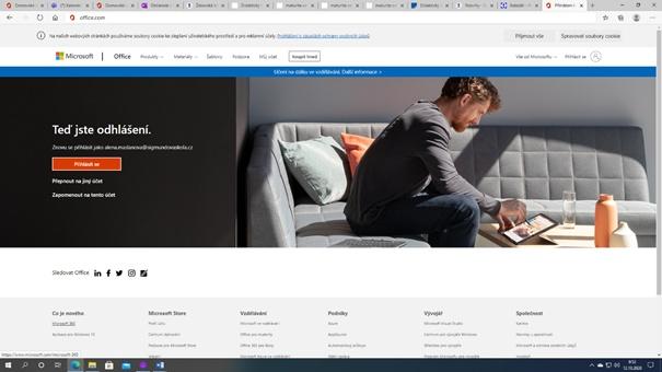 Přihlašovací stránka Office365