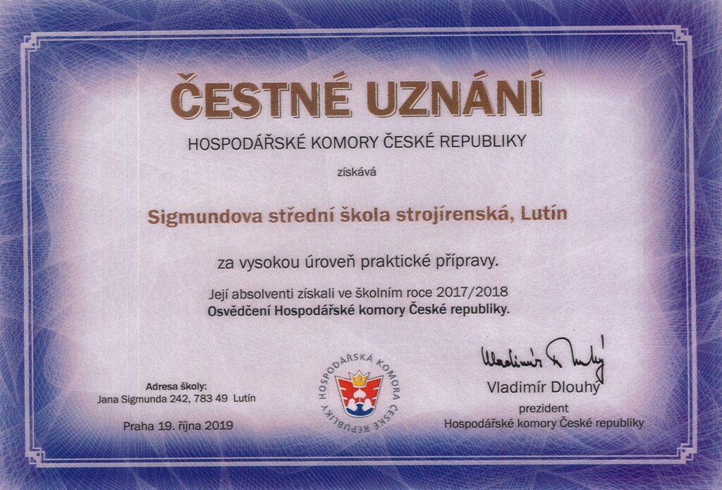 Čestné uznání Hospodářské komory ČR