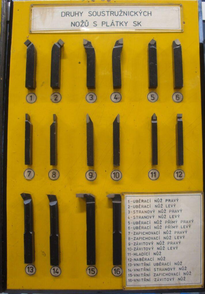 Druhy soustružnických nožů s plátky SK